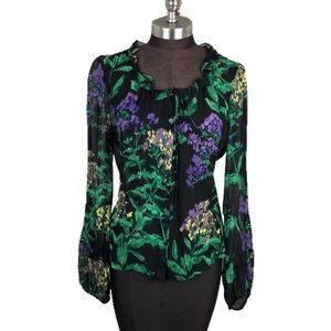 Elie Tahari Sheer Black Floral Button Up Blouse